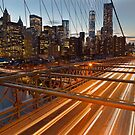 Brooklyn Bridge Light Trails by Cameron B