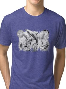 Dolphins with stars black and white art dark background Tri-blend T-Shirt