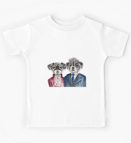 Pug and Brussel Griffon Dogs in Vintage Attire Kids Tee