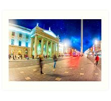O'Connell Street in Motion - Dublin at Night Art Print