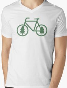 Pacific Northwest Bike - Pine Tree Bicycle - Cycling Mens V-Neck T-Shirt