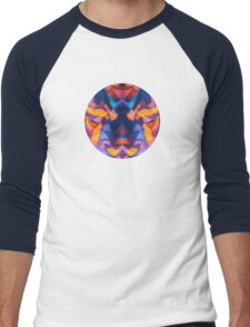 Abstract Surreal Chaos theory in Modern Blue / Orange Men's Baseball ¾ T-Shirt
