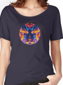 Abstract Surreal Chaos theory in Modern Blue / Orange Women's Relaxed Fit T-Shirt