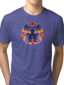 Abstract Surreal Chaos theory in Modern Blue / Orange Tri-blend T-Shirt