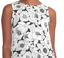 Camellia Floral Pen and ink Contrast Tank