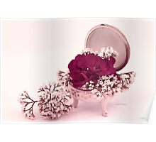 Pink Geranium In Vintage Dish  Poster
