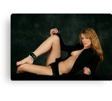 Zoe in the Leather Collar and Cuffs Canvas Print