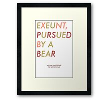 Exeunt Pursued By A Bear - Shakespeare Framed Print