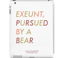Exeunt Pursued By A Bear - Shakespeare iPad Case/Skin