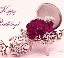 Happy Birthday Card - Pink Geranium In Vintage Dish  by Sandra Foster