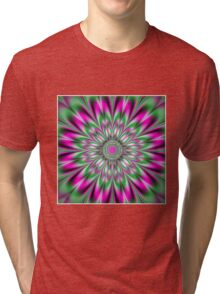ABSTRACT FLOWER ;Psychedelic Print Tri-blend T-Shirt