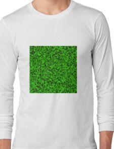 Green Pixel Square Art Long Sleeve T-Shirt