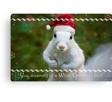 White squirrel Christmas Canvas Print