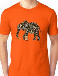Elephant with Middle Eastern Flower Pattern Unisex T-Shirt