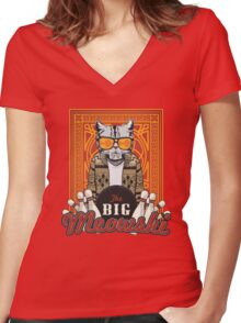 The Big Meowski Women's Fitted V-Neck T-Shirt