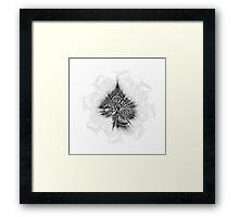 Zen Doodle Spades Black Ink Framed Print