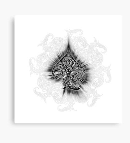 Zen Doodle Spades Black Ink Canvas Print