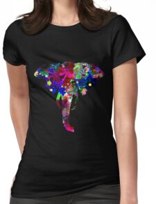Elephant with Multicolored Paint Splatters Womens Fitted T-Shirt