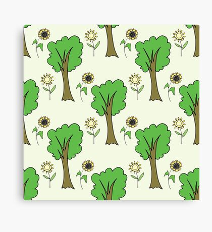 cute forest pattern with flowers and tree Canvas Print