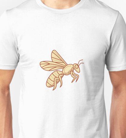 Bee Flying Mono Line Unisex T-Shirt
