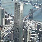 Aerial View, Snow View, Lower Manhattan, Brooklyn Bridge, East River, New York City by lenspiro