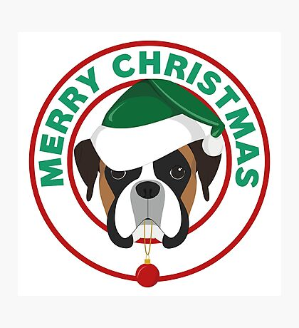 Merry Christmas Boxer Dog Photographic Print