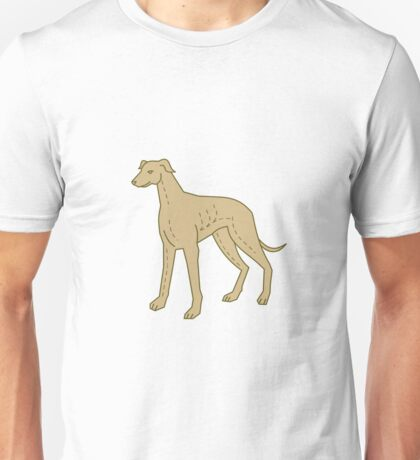 Greyhound Dog Standing Mono Line Unisex T-Shirt