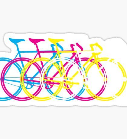 Four Bicycles Bikes CMYK Sticker