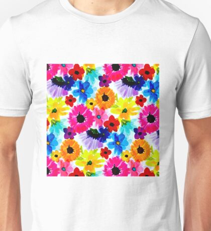 WHIMSICAL FLOWERS; Abstract Modern Art Print Unisex T-Shirt