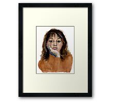 Roz -  self-portrait in gouache, at age16! Framed Print