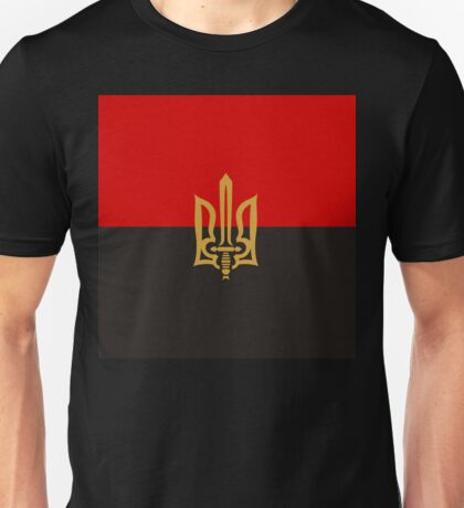 Stylized Tryzub And Red-Black Flag Unisex T-Shirt