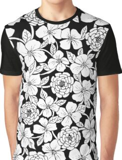 Black & White Floral Pattern Graphic T-Shirt