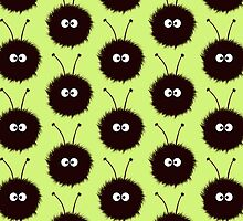 Green Cute Dazzled Bugs Pattern by Boriana Giormova