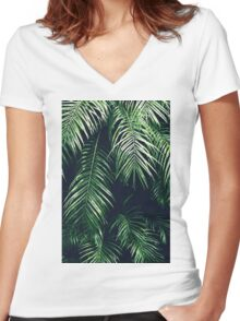 Tropical Palm Leaves Women's Fitted V-Neck T-Shirt