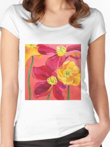 Red & Yellow Poppies Women's Fitted Scoop T-Shirt