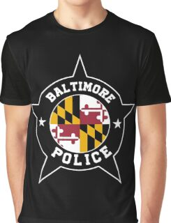 Baltimore Police T Shirt - Maryland flag Graphic T-Shirt