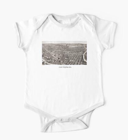 Perspective map of Fort Worth - 1891 One Piece - Short Sleeve