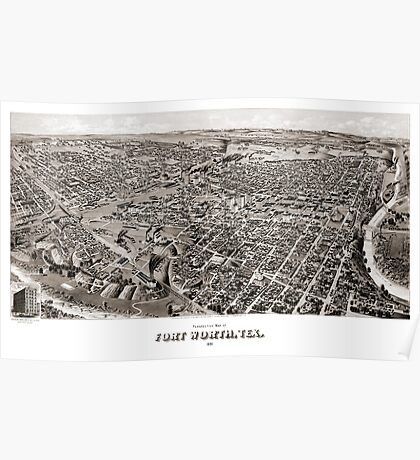 Perspective map of Fort Worth - 1891 Poster