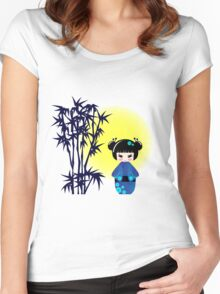 Japanese kokeshi doll at bamboo at sunrise Women's Fitted Scoop T-Shirt