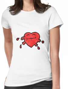 funny heart cartoon character Womens Fitted T-Shirt