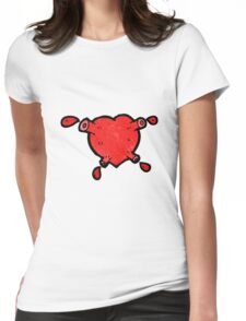cartoon blood pumping heart Womens Fitted T-Shirt