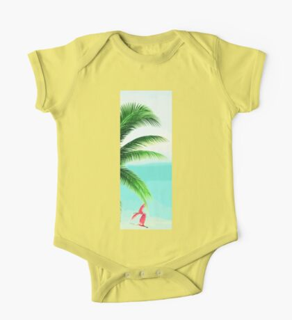 Tropical Palm Leaves and Pink Flamingo One Piece - Short Sleeve