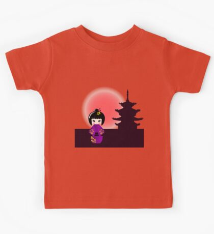 Japanese kokeshi doll at temple during sunset Kids Tee