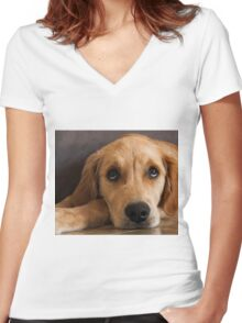 1184 Soulful Eyes Women's Fitted V-Neck T-Shirt