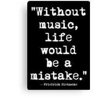 Friedrich Nietzsche Music White Canvas Print
