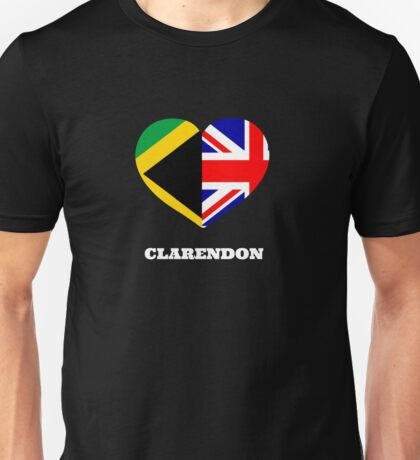 Love Clarendon Jamaican Flag British Flag Union Jack Heart Unisex T-Shirt