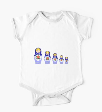 Blue russian matryoshka nesting dolls One Piece - Short Sleeve