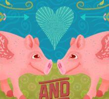 Funny Valentine's Day Cute Hogs Pig Pun Sticker