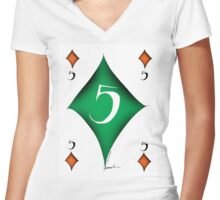 Lucky No.5 of Diamonds by Tony Fernandes Women's Fitted V-Neck T-Shirt