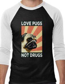 Love Pugs Not Drugs Men's Baseball ¾ T-Shirt